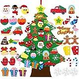 FengRise Decoración de árbol de Navidad de Fieltro para Bricolaje - Árbol de Navidad para niños no Tejido de 3.1 pies con 33 Piezas de Adornos navideños Desmontables para niños pequeños