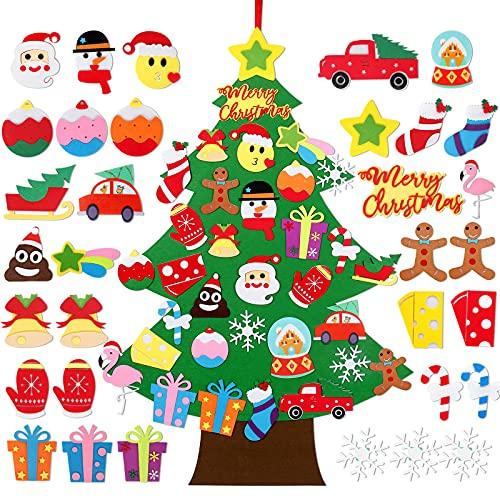 Decorazione per albero di Natale in feltro fai-da-te,Albero di Natale in tessuto non tessuto da 3,1 piedi con 33 pezzi di ornamenti natalizi staccabili per bambini Regali di Natale per bambini piccoli
