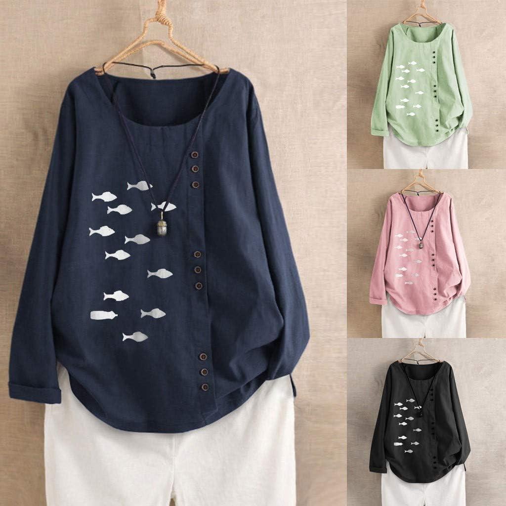 Eaktool Womens Long Sleeve Button Cotton Linen Kaftan Baggy Tee Shirt Tops