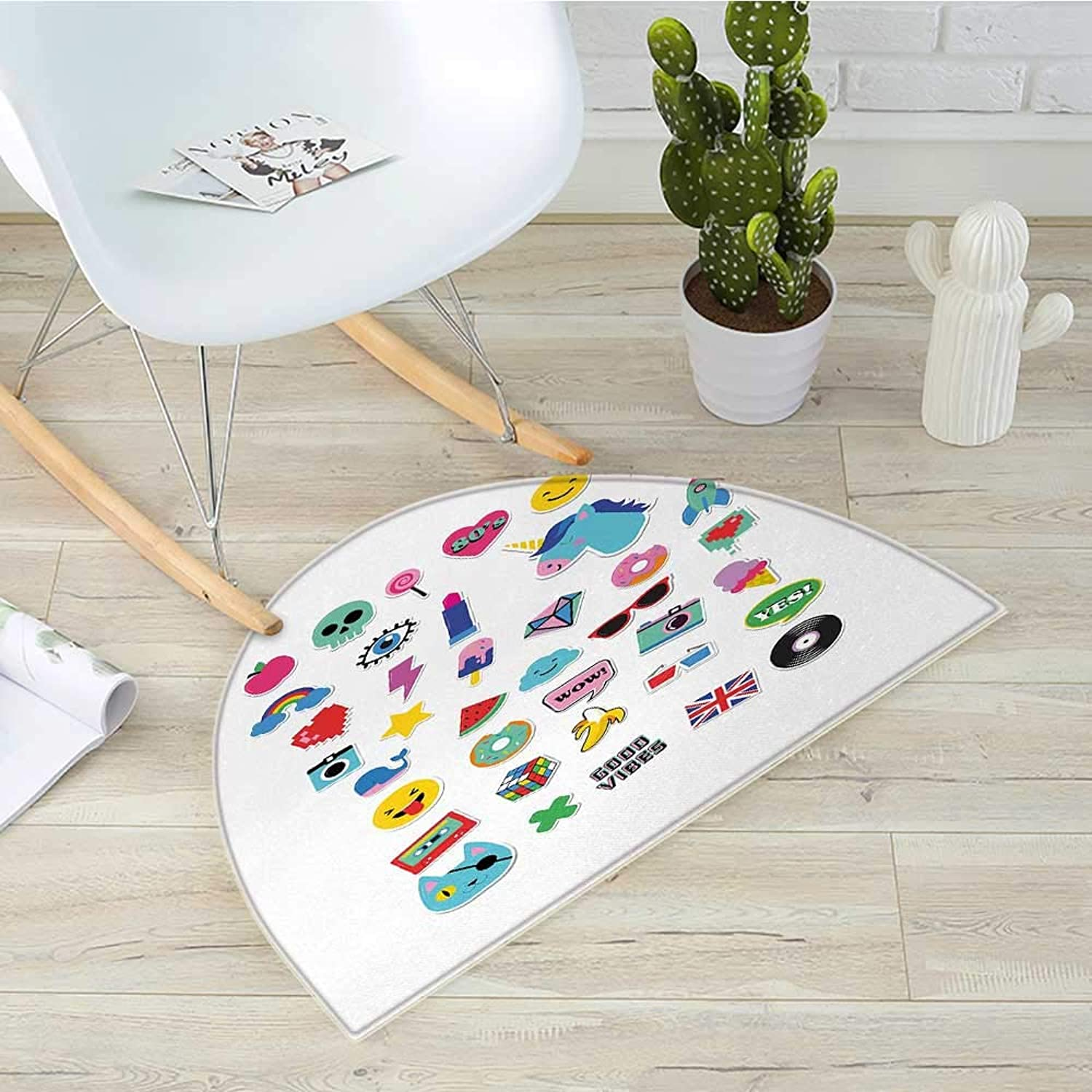 Emoji Semicircular CushionPop Culture Elements Good Vibes Ice Cream Rocket Donut Star Cartoon Style Drawing Entry Door Mat H 43.3  xD 64.9  Multicolor