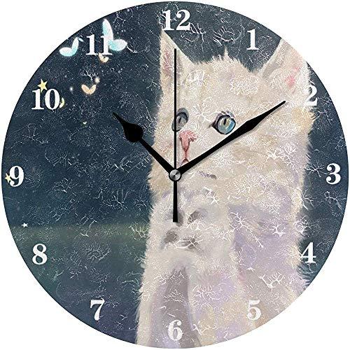 Cy-ril Horloge Murale Ronde silencieuse fonctionnant sur Batterie Horloge Murale décorative créative pour Chat en prière