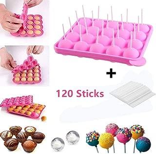 20 de Molde Lollipop,molde cake pops, silicona bandeja Stick mould +100 unidades de incienso, Lollipop partido de utensilios para hornear molde, Jelly y Chocolate, no adhesivas, rosa