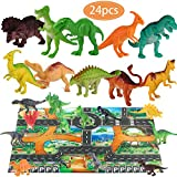Dinosaur Toys and Play Mat Dinosaur Figurines Set Jurassic Park Toys for Birthday School Playtime Kids Boys Girls Tyrannosaurus Rex, Stealing Egg Dragon, Raptor, Triceratops ,etc