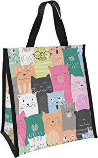 Cute Cat Reusable Lunch Bag Insulated Lunch Box With Aluminum Foil Tote Bag For Kids,Women,Men,School,Office