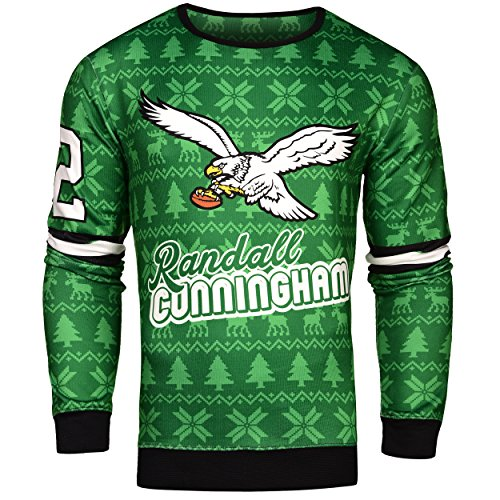 Forever Collectibles NFL Mens Retired Player Ugly Sweater, Randall Cunningham Philadelphia Eagles