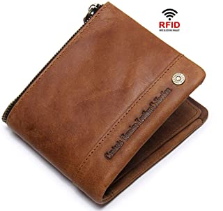 RFID Wallets for Men Bifold Leather, Money Clip Wallets for Men with ID Window, Brown Front Pocket Wallet, Travel Wallet R...