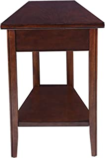 Phoenix Home Tilburg Chair-Side Solid-Wood Wedge-Shaped End Table with Bottom Shelf, Caramel Latte