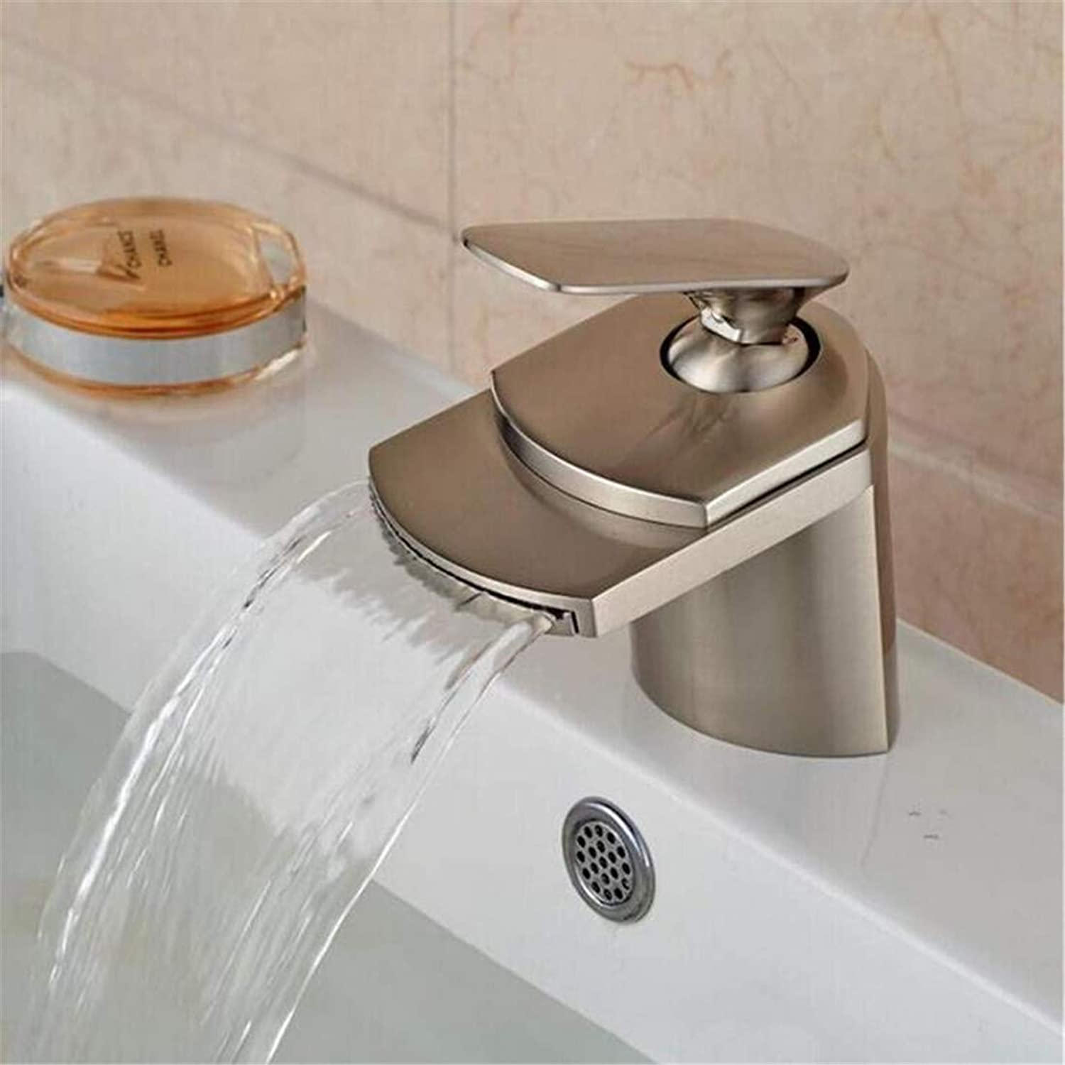 Faucet Modern Plated Kitchen Bathroom Faucet Faucets Basin Mixer Hot and Cold Water Mixer Tap Brushed Nickel Finished