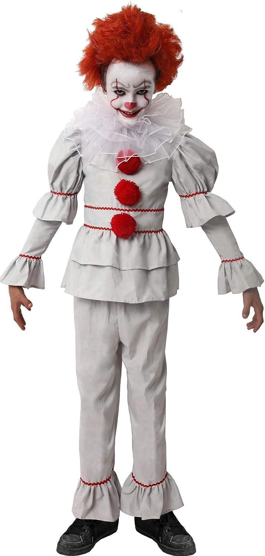 Gojoy Shop- Disfraz de Payaso Asesino para Niños y Niñas Halloween Carnaval (Contiene: Camiseta,Pantalón,Cuello Y Pintura Con Esponja.4 Tallas Diferentes)