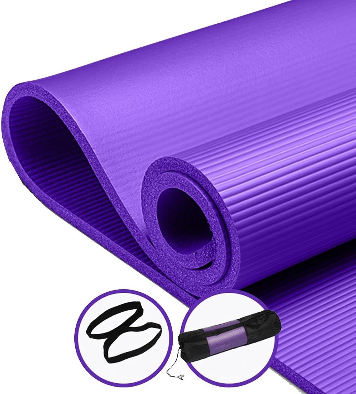 Herren Bewegung Matten für Home Dick Gro Fest, 10mm, Hohe Dichte reifestem Yoga Pilates Matte mit Trageriemen für Innen und Auen