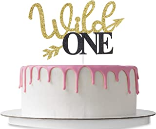 Wild One Cake Topper with Arrow, 1st Birthday Party Decoration Supplies, Gender Reveal, Monogram Photo Props, Double Color Gold and Black Glitter