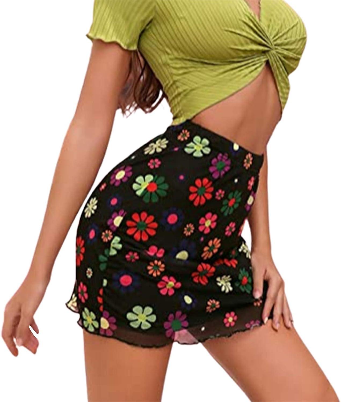Women Girls Mesh Flower Print Mini Skirt High Waist Double Layer Skirts A-Line Ruffles Skinny Short Skirts Y2K Streetwear