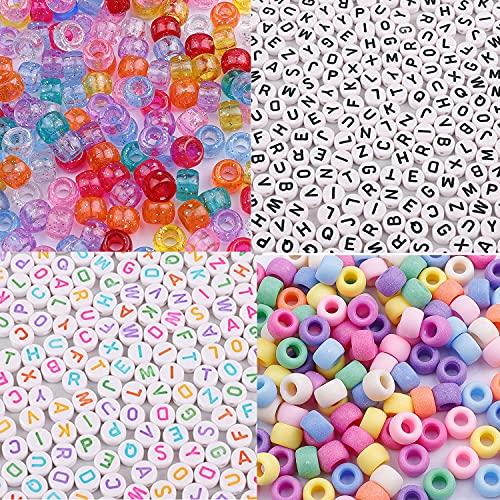 Hanbee 1000pz Perline Colorate 1000pz Perline Lettere Alfabeto Mini Perline Acriliche per Braccialetti Collana Gioielli Bigiotteria Fai da Te
