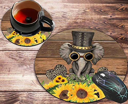 Round Mouse Pad and Coasters Set, Rustic Wooden Board Sunflower Elephant Leopard Love Heart Mousepad, Anti Slip Rubber Round Mousepads Desktop Notebook Mouse Mat for Working and Gaming