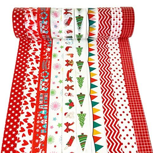 Xinlie Multi-Pattern Ruban Multi-Pattern Washi Tape Ruban Adhésif Papier Décoratif Masking Tape Washi Tape pour Cadeau de Bricolage Artisanal,Emballage de Cadeaux, Décoration de Vacances (10 Rouleaux)