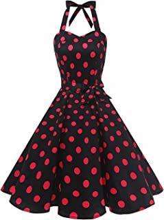 Women'sVintage Polka Audrey Dress 1950s Halter Retro Cocktail Dress