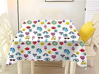 L'sWOW Square Tablecloth Outdoor Emoji Pop Art Style Cartoon Icons Unicorn Watermelon Banana Pixel Heart Thunder Bolt Eye Multicolor Plaid 50 x 50 Inch