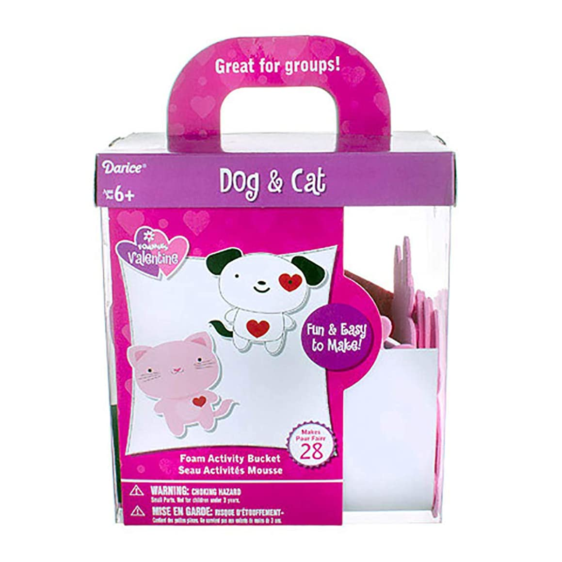 Darice Foam Animal Kit: Cat Dog, 3 x 3.5 inches, 225 Pieces, Makes 28 - Great for Kids Parties, Teacher, Groups