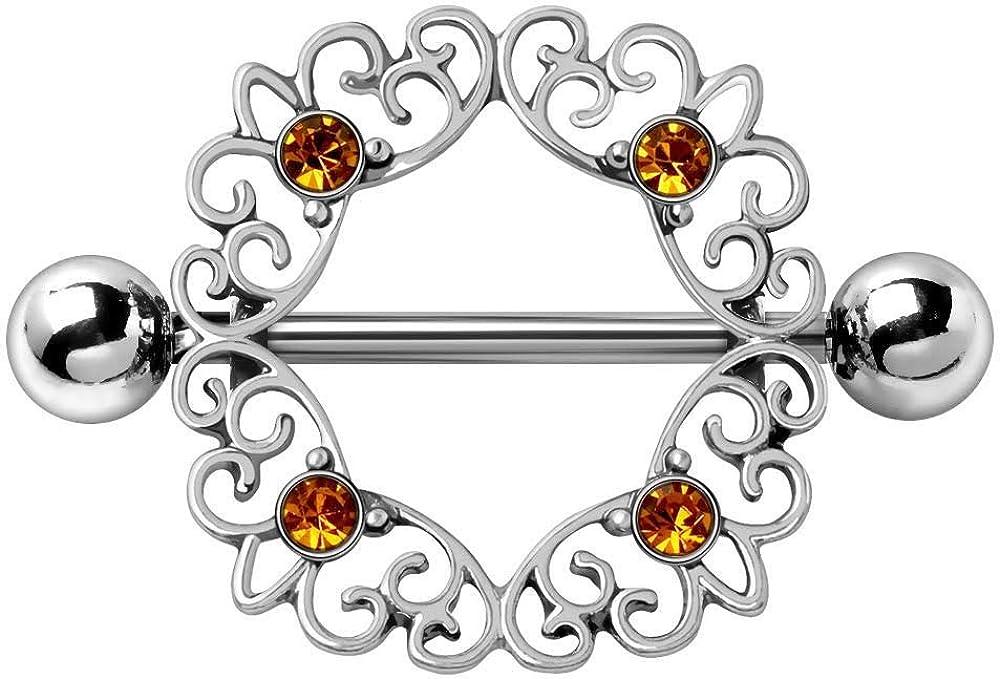 Covet Jewelry 316L Stainless Steel Topaz Ornate Nipple Shield