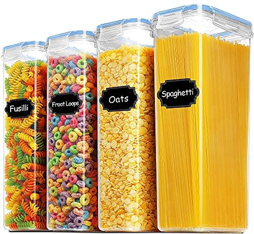 Blingco Frischhaltedosen für Müsli, luftdichte Aufbewahrungsdosen für trockene Lebensmittel, 4er-Set (2,8 l, BPA-freier Kunststoff für Mehl, Zucker mit Deckeln – Blau
