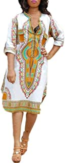 African Printed Dress, Rakkiss New Women Summer Casual Deep V-Neck Traditional African Print Party Dresses