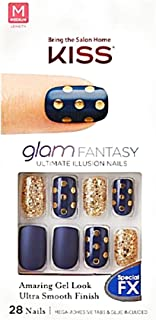 Kiss Glam Fantasy Medium Length Matte Blue Nails KGF03 Parasol