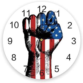 9.8インチPVC壁掛け時計、アメリカ独立記念日USA Flag Fist Hand Battery Operated Round Non-Ticking Clock for the Kitchen/Living Room/Bedroom/Of...