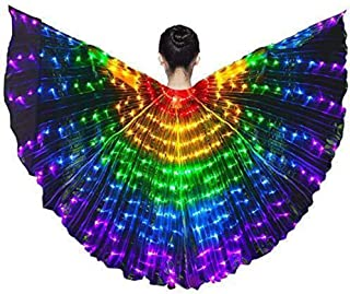 LUCKSTAR Colorful Belly Dance Wings LED with Telescopic Stick LED Butterfly Wings Dance Costumes Glowing Performance Clothing for Carnival, Stage, Halloween Party