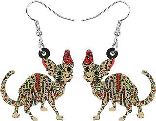 NEWEI Acylic Multicolor Hairless Cat Earrings Drop Dangle Charms Fashion Animal Jewelry For Women Girls Gifts
