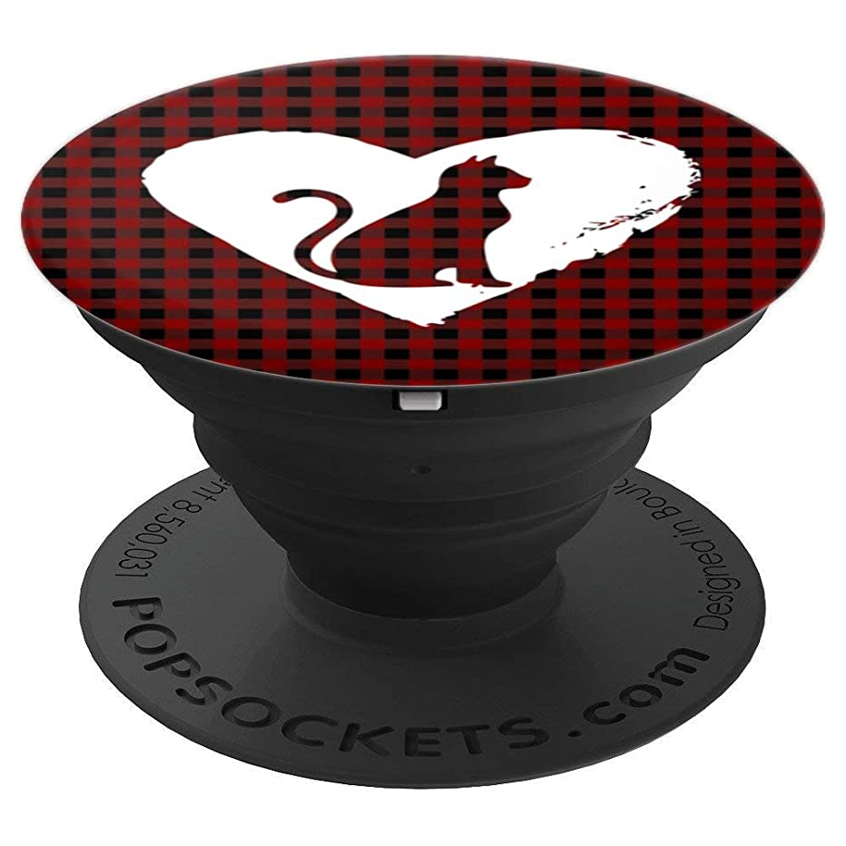 Cat in Heart Cute Design Gift For Cat Lovers On Plaid - PopSockets Grip and Stand for Phones and Tablets