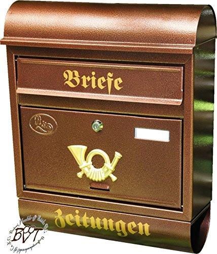 BTV Briefkasten, groß XXL, Premium-Qualität, lackiert, Hammerschlag-Optik Runddach R/c Kupfer kupferfarben braun + Zeitungsfach Zeitungsrolle Postkasten