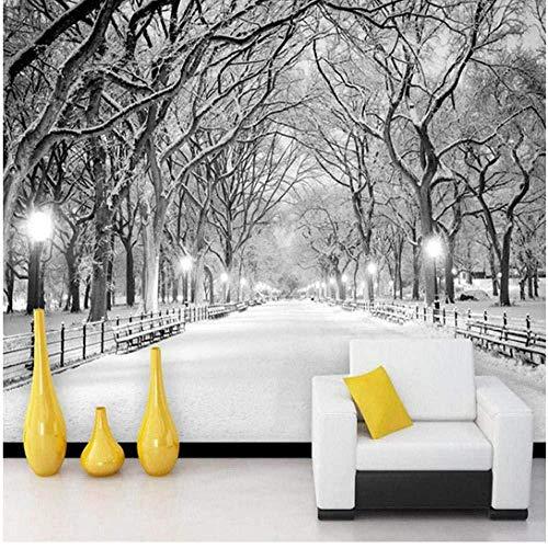YBHNB Blanco Y Negro Nieve Paisaje Foto Mural Papel Tapiz 3D Estéreo Salón Dormitorio Pared De Fondo Decoración para El Hogar Papel Tapiz 3D-150X120Cm
