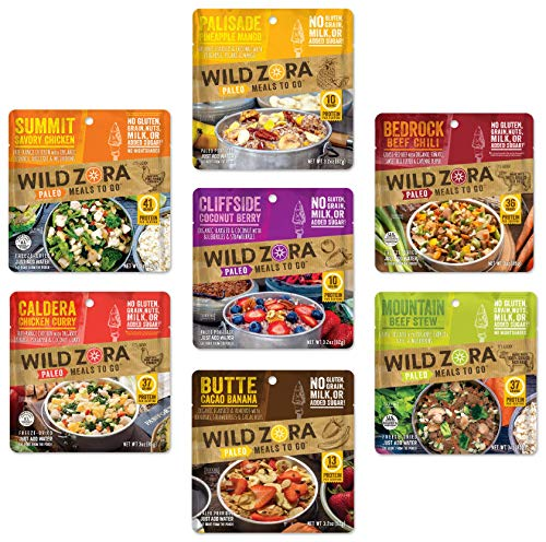Wild Zora Paleo Meals to Go - Freeze Dried Meals for Backpacking & Camping - Gluten Free, Grain Free, No Added Sugar - Includes Breakfast & Dinner Options (7-Pack)