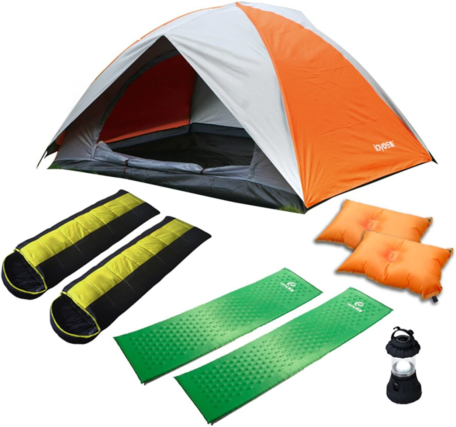 Tent Kit ( double double tent sleeping bag  self inflating mat  pillowfilled  tent lamp)