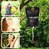 Eccolove Solar Camp Shower Bag with Spray Head and Hose, 20L Sun Heated Showering System for Outdoor Camping,...