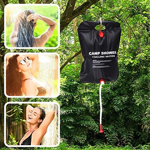Eccolove - Bolsa de ducha solar con cabezal y manguera, 20 L para acampar al aire libre, senderismo, playa o viajes, resistente a fugas y portátil
