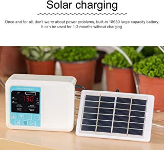 Jiaboyu Solar Watering Device,DIY Automatic Drip Irrigation Kit, Intelligent Solar Energy Charging Potted Plant Drip Irrigation Water Pump Timer System Double Pump 1