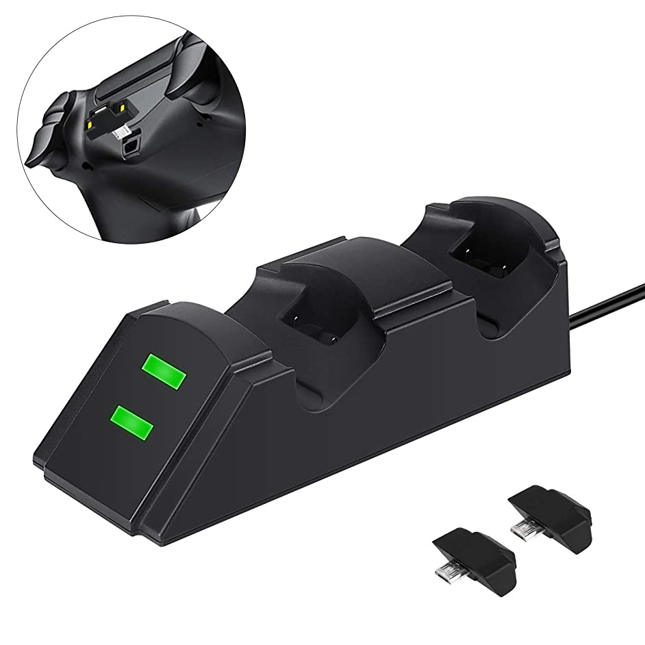 PS4 Controller Charger Wireless PS4 Charging Station Dock for Playstation4 / PS4 / PS4 Slim / PS4 Pro with 2 Micro USB Charging Dongles