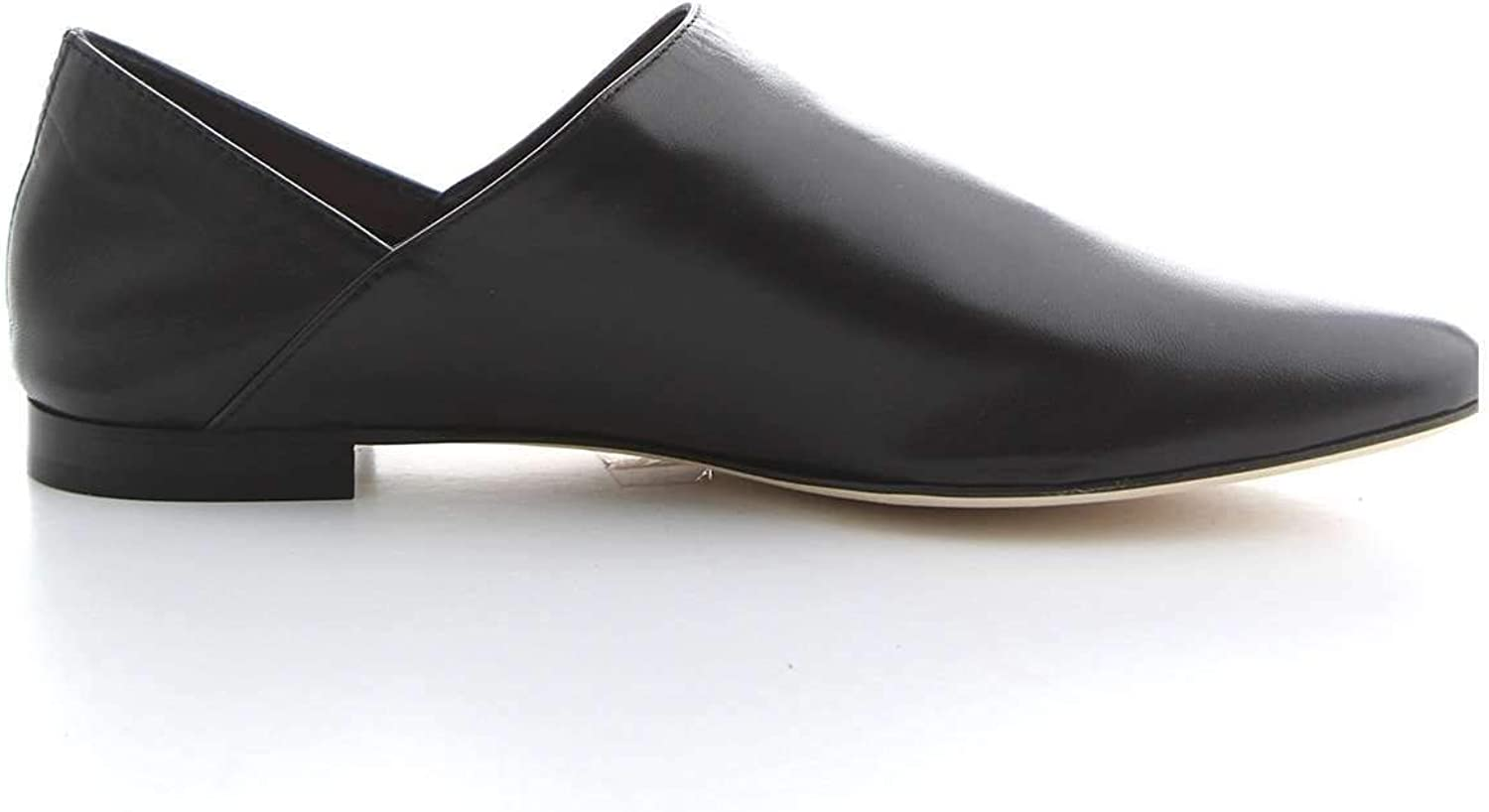 ANNA F Women's 7524BLACK Black Leather Loafers