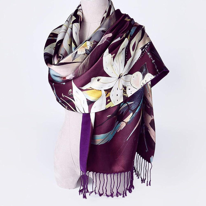 Weiwei Ladies Silk Scarves Silk Shawl Autumn and Winter Silk Shawl Warm Double Fleece 180cm55cm