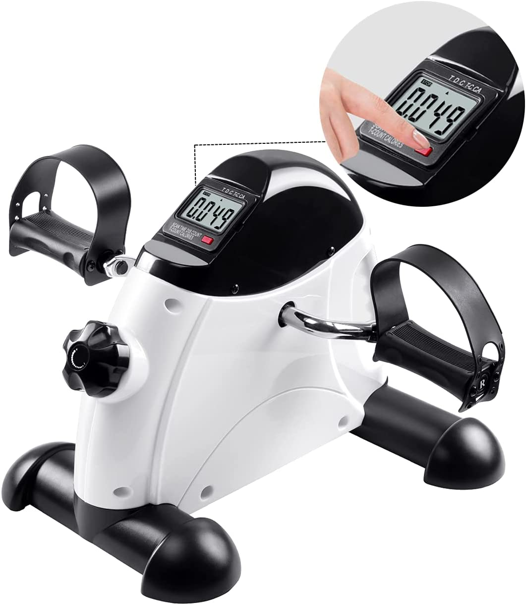 Pedal Exerciser Stationary Under Desk Bike Peddler Mini Exercise with LCD Display, Legs and Arms Portable Foot Cycle Pedal for Office Home Women Men Seniors, White