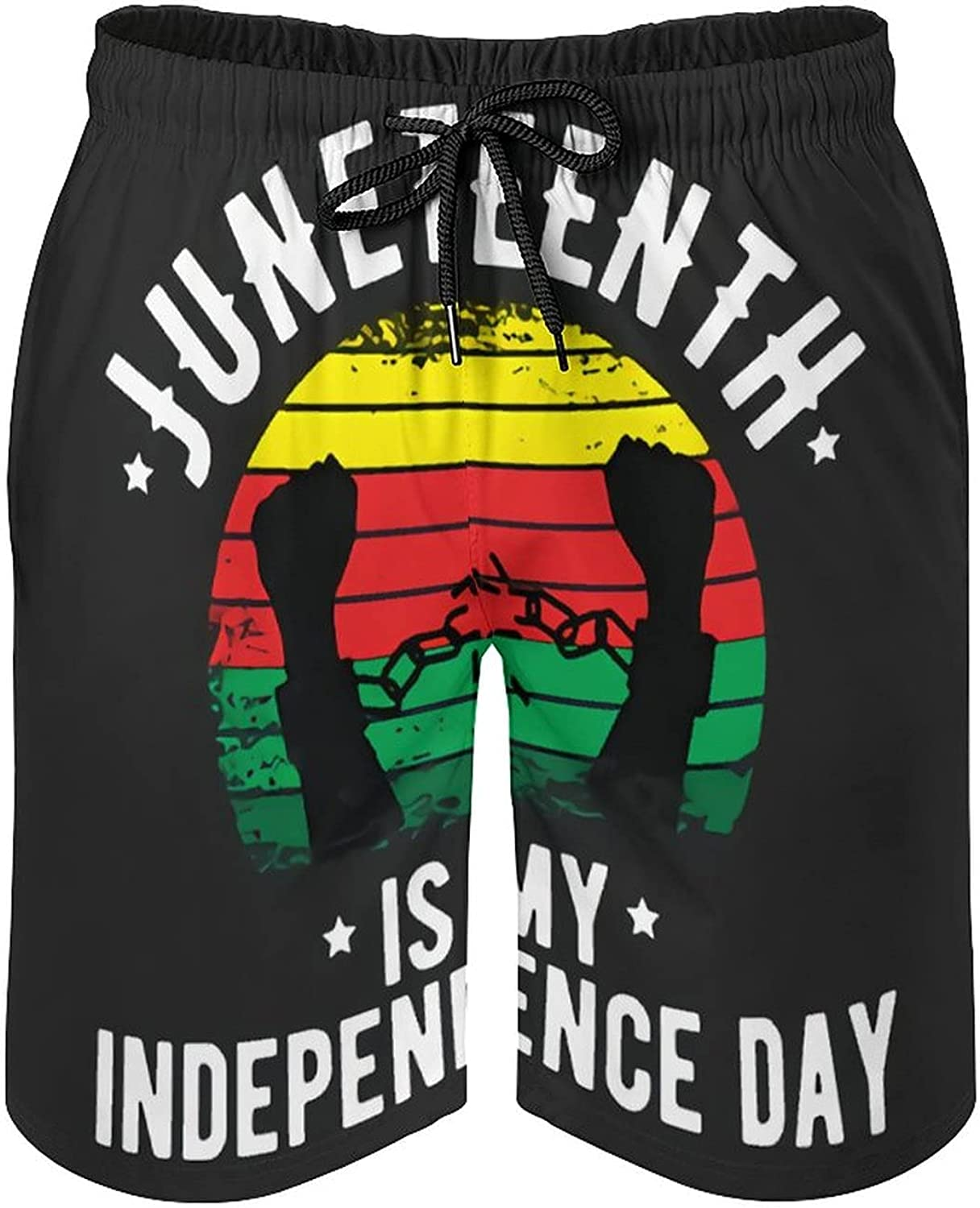 B&MAVIS Juneteenth is My Independence Day Funny Men's Summer Quick Dry Swim Trunks Casual Board Shorts Beachwear for Boys Men