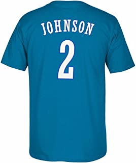 adidas Larry Johnson Charlotte Hornets NBA Men Blue Originals Player Name & Number Retro Jersey T-Shirt