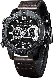 WISHDOIT Men's Analog Digital LED Screen 30m Waterproof Outdoor Sports Watch Chronograph Military Multi-Function Leisure D...