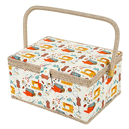 SAXTX Wooden Large Sewing Baskets with 99Pcs Sewing Kit Accessories| Sewing Organizer with Multiple Compartments| Women Sewing Gifts for Quilting and Mending,12 x 9 x 6.5 inches