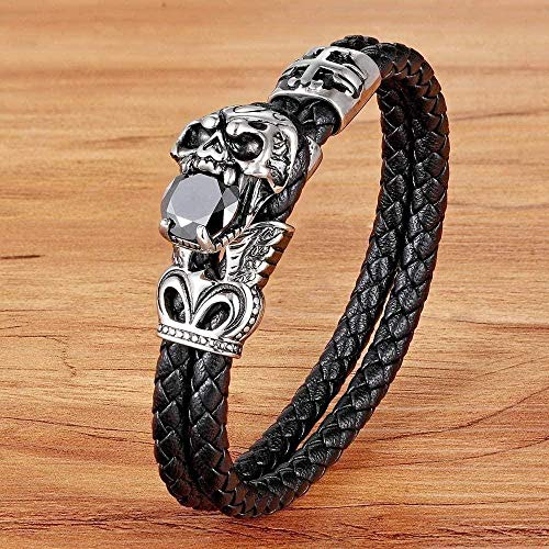 CAISHENY Collar Pulsera de Hombre Pulsera de Cuero circonita Color Negro bendición joyería tamaño 21cm