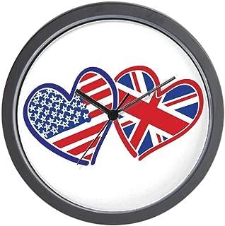 CafePress-USA and UK Flag Hearts-Wall Clock