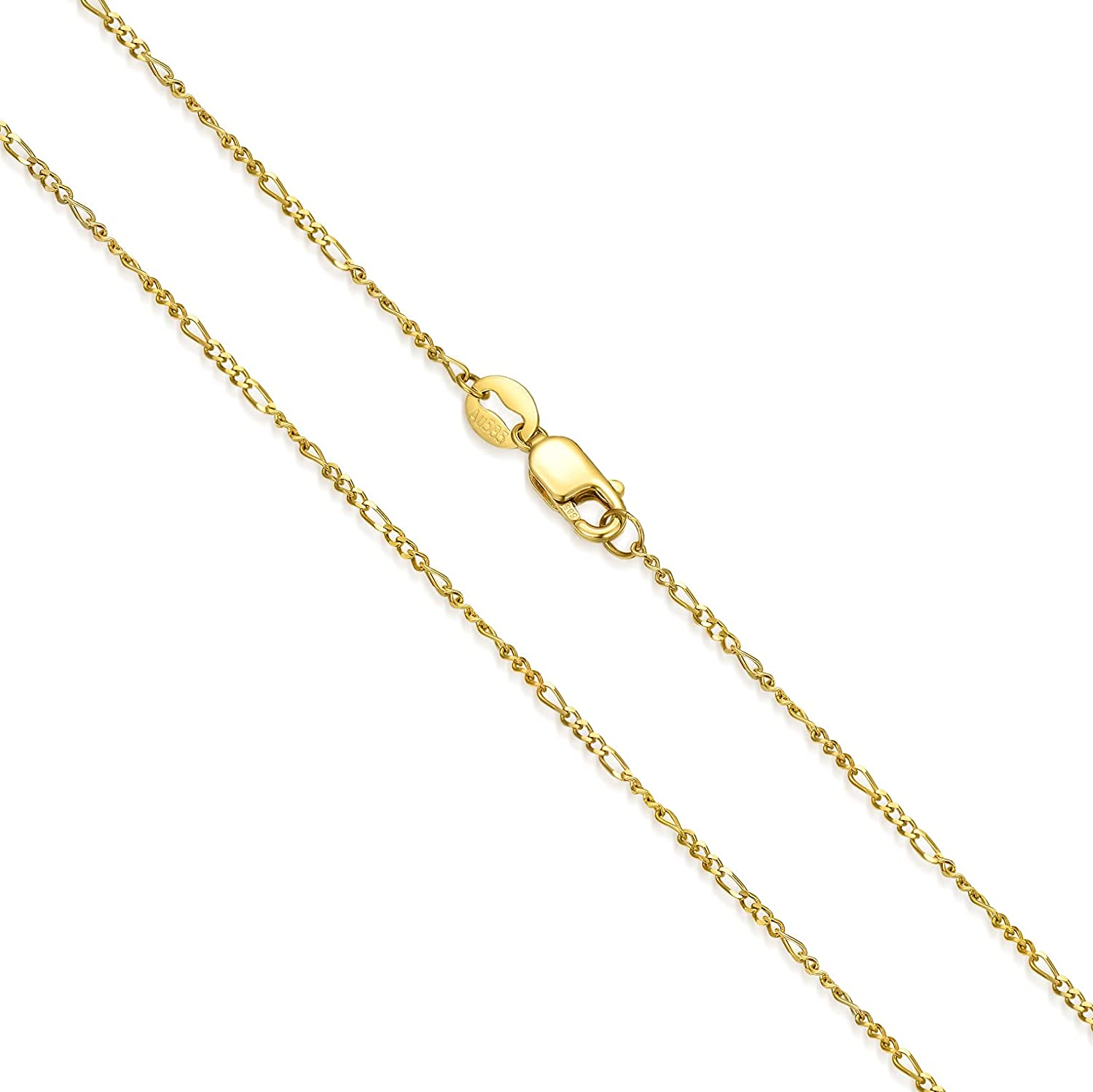 SISGEM 14K Real Gold Figaro Chain Necklace with Lobster Claw Clasp,Yellow Gold 1.13 mm Link Figaro Chain Necklace Fine Jewelry Gifts For Women 16'' 18'' 20'' 22'' 24''