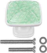 Deurknoppen 4 STKS Vierkante Glazen Deurknoppen Handvat Kast Pull Lade Keukenkast Lade knoppen met Schroeven Bloemenpatroon