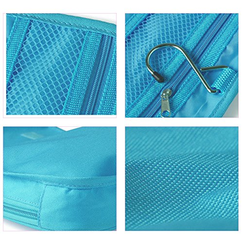 Travelmall Travel Organizer Toiletry Bag Cosmetic Bag Pouch Handbag for Women Makeup Men Shaving Kit with Hook Hanging Blue Photo #6